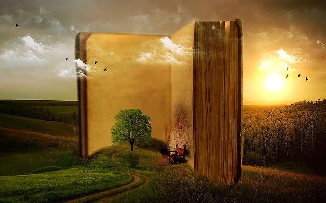 A landscape emerging from a very large book.