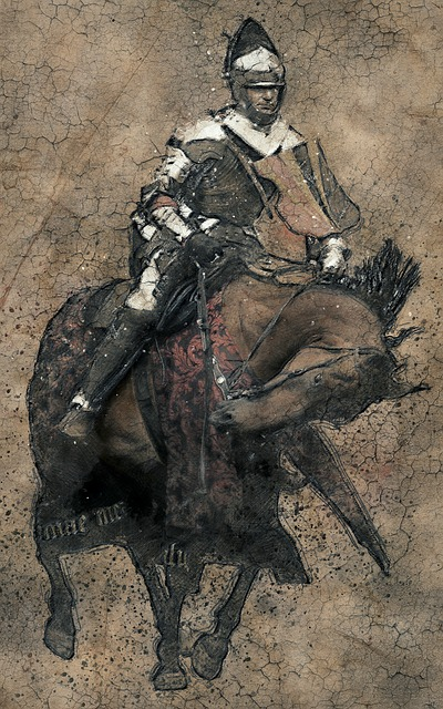 Knight on horseback on a crackled brown background.