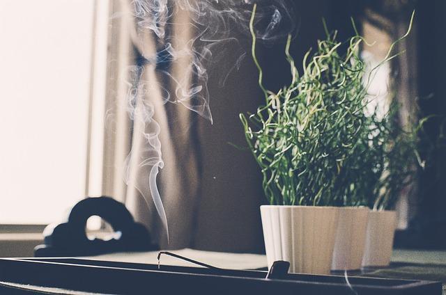 Burning incense.