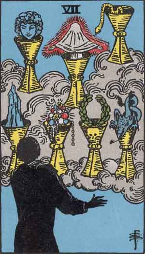 The Seven of Cups, from the Rider-Waite deck. Artwork by Pamela Coleman Smith. A silhouetted figure stands in front of seven cups. One holds a blue head, one has a glowing sheet ghost(???), one has a snake, one has a very tiny caste, one has either very excellent jewels or extremely terrible fruit, idk, one has a laurel wreath, and one has a very small blue dragon.