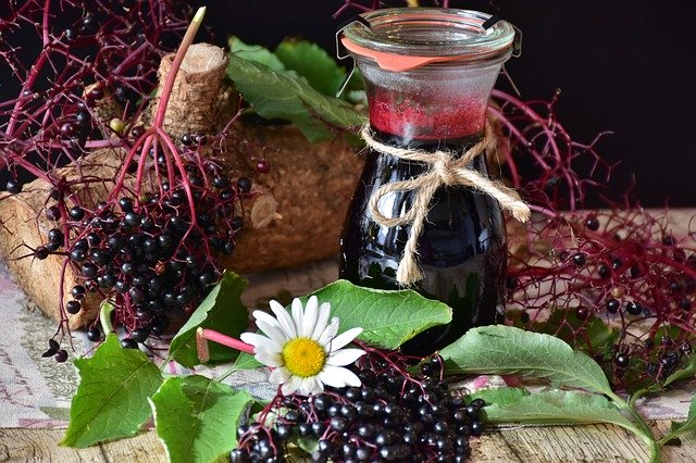 Elderberries and syrup.
