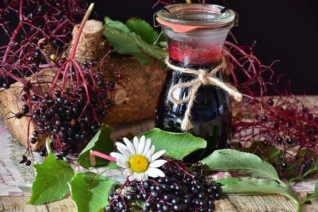 Elderberries and syrup.